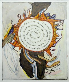 Self-portrait as sunflower (Hjalmar Söderberg) - 2014-16 - mixed media on paper - 39x33 cm