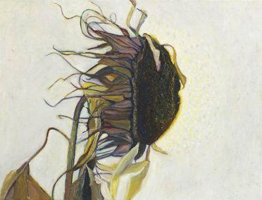 Marja de Raadt 2018 - Zonnebloem in tegenwind - 65x50 cm - olieverf op linnen